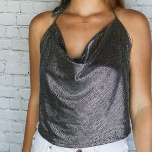 NWOT Sparkly Black & Gray Crop Top